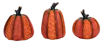 Faux Wood Carved Pumpkins Set of 3