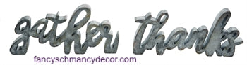 Gather & Thanks Pewter Finish Word Decor