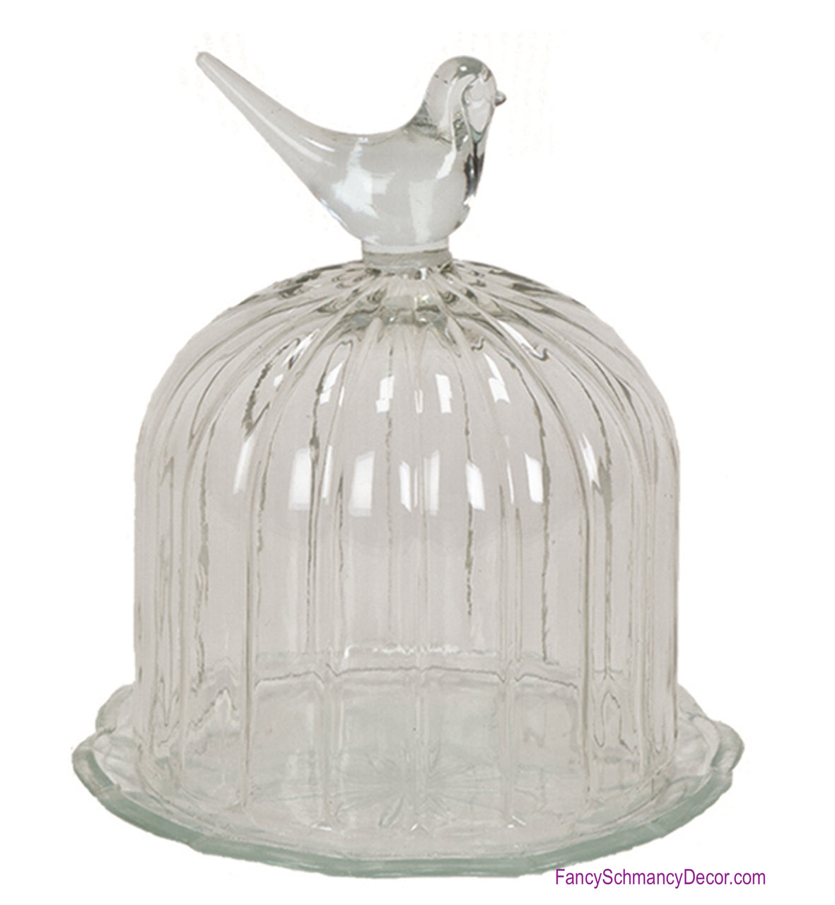 Glass Domed with Bird Cover Dish