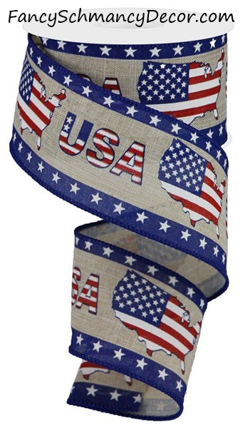 "2.5""X10yd USA/USA Map W/Star Border Wired Ribbon"