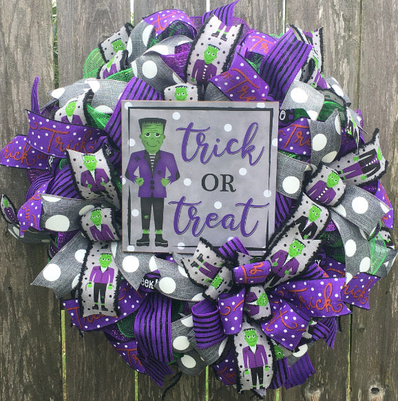 Trick or Treat Frankenstein Wreath