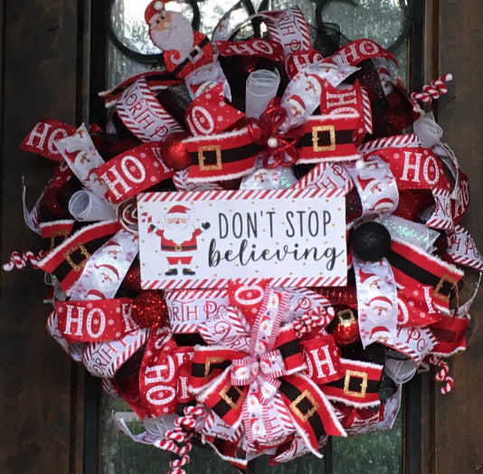 Don't Stop Believing Christmas Wreath