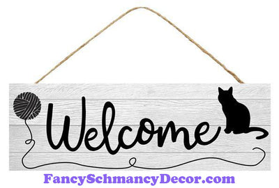 "15"" L X 5"" H Welcome W/Cat/Yarn Sign"