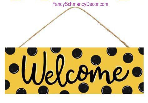 "15"" L  X  5"" H Welcome Bumblebee Black Dots Sign"