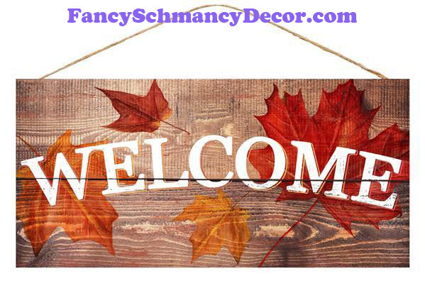 "12.5"" L X 6"" H Welcome/Fall Leaves"