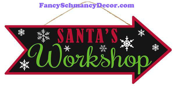 "16""L X 6.5""H Santa's Workshop Sign"