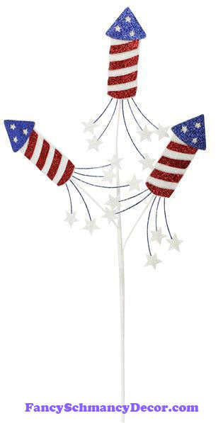 "25"" L Red White Blue Firecracker Pick X 3 W Stars"