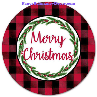 "12"" Dia Merry Christmas/Buffalo Plaid Sign"