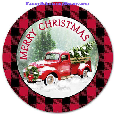 "12"" Dia Merry Christmas/Truck/Plaid Sign"