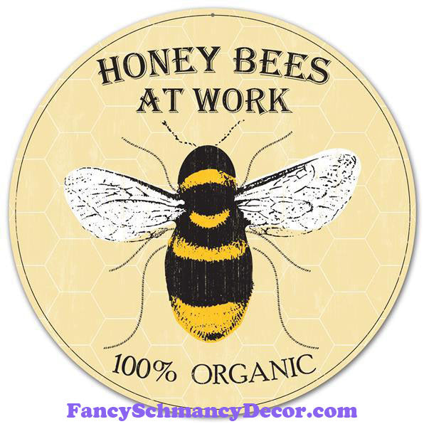 "12"" Diameter Metal Honey Bee Sign"