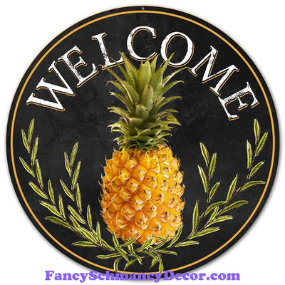"12"" Dia Metal ""Welcome"" Pineapple Sign"