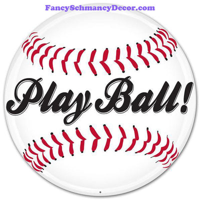 "12"" Dia Metal Play Ball! Baseball Sign"