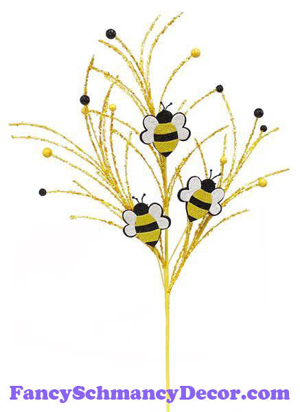 "29""Oal Glitter Bumble Bee/Twig Pick Spray"