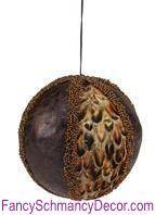 "5"" Feather/Leather/Bead Stripe Ball Ornament"