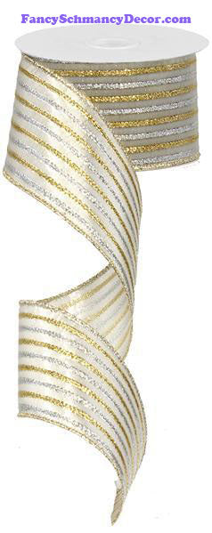 "2.5"" X 10 yd Metallic Silver Gold Stripe Wired Ribbon"
