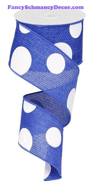 "2.5"" X 10 yd Royal Blue Giant Multi Dots"
