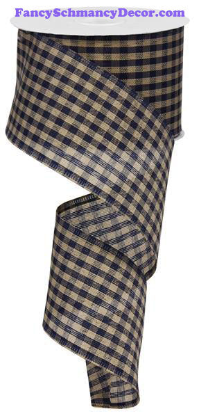 "2.5"" X 10 yd Primitive Navy Blue Tan Gingham Check Ribbon"