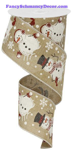 "2.5"" X 10 yd Snowman Royal Light Beige Wired Ribbon"