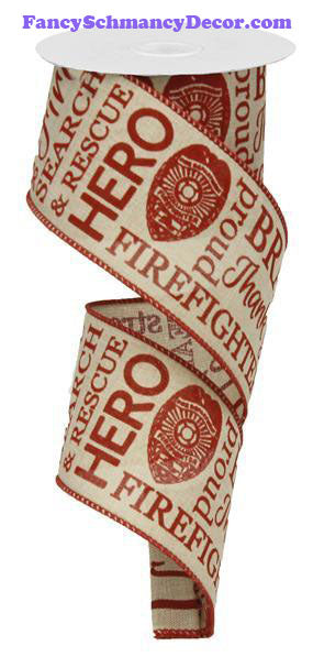 "2.5"" X 10 yd Firefighter Royal Lt. Natural Red Wired Ribbon"