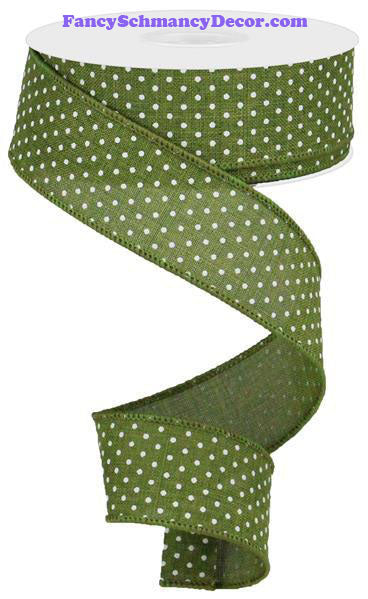 "1.5"" X 10 yd Moss Green White Raised Swiss Dots Wired Ribbon"