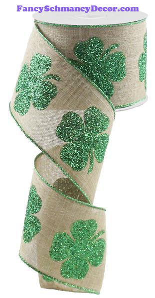 "2.5""X10yd Bold Clover Print On Royal"