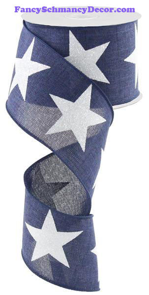 "2.5"" X 10 yd Bold Glitter Star On Royal Navy Blue White Wired Ribbon"