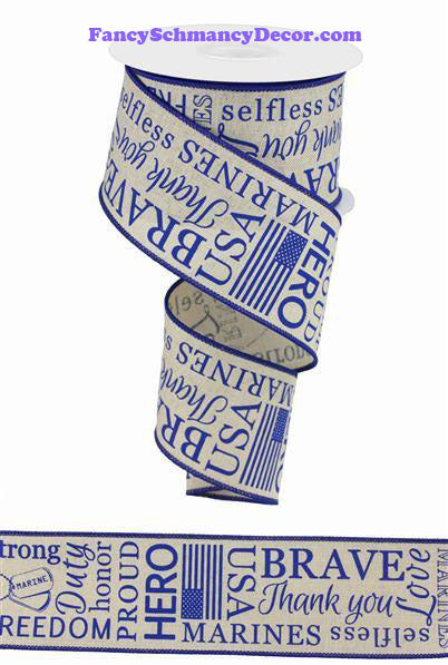 "2.5"" X 10 yd Marines On Royal Lt. Natural Blue Wired Ribbon"