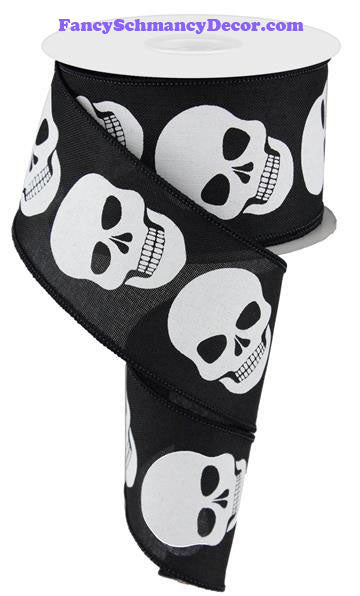 "2.5"" X 10 yd Black and White Skulls On Royal Wired Ribbon"