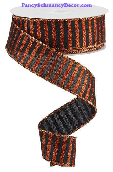 "1.5"" X 10 yd Black Glitter Stripe On Orange Royal Wired Ribbon"