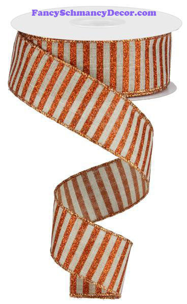 "1.5"" X 10 yd Natural Bright Orange Glitter Stripe On Royal Wired Ribbon"