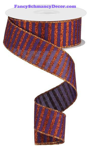 "1.5"" X 10 yd Purple Glitter Orange Stripe On Royal Wired Ribbon"
