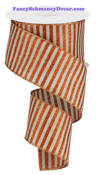 "2.5"" X 10 yd Glitter Stripe On Royal Natural Bright Orange Wired Ribbon"