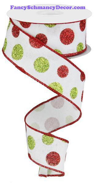 "1.5"" X 10 yd Multi Size Glitter Dots/Royal White Red Green Wired Ribbon"