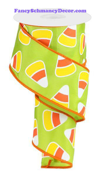 "2.5"" X 10 yd Green Candy Corn On Satin"