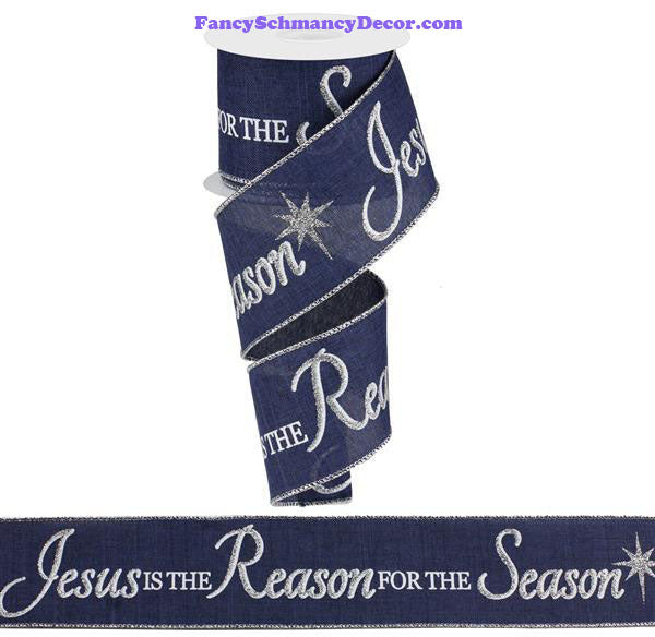 "2.5"" X 10 Yd Jesus Is The Reason On Royal Navy Blue Silver White Wired Ribbon"