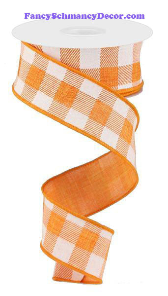 "1.5"" X 10 yd Striped Check On Royal Orange White Wired Ribbon"