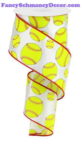 "2.5"" X 10 yd White Neon Yellow Red Softball Wired Ribbon"
