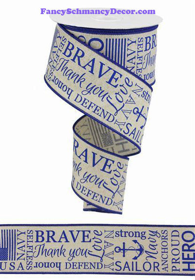 "2.5"" X 10 yd Navy Armed Forces On Royal Burlap Wired Ribbon"