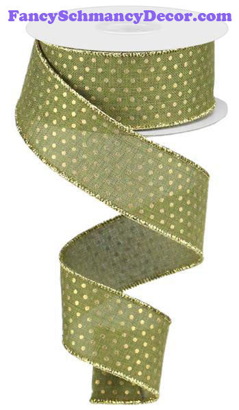 "1.5"" X 10 yd Fern Moss Gold Swiss Dots Wired Ribbon"