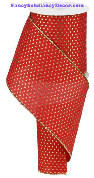 "4"" X 10 yd Royal Red Gold Swiss Dots Wired Ribbon"