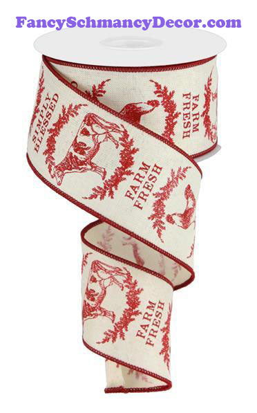 "2.5"" X 10 yd Farmhouse Animals Cream Red Wired Ribbon"