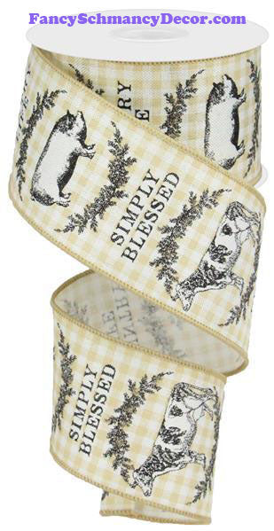 "2.5"" X 10 yd Farmhouse Animals Check Ivory Black Lt Beige Wired Ribbon"