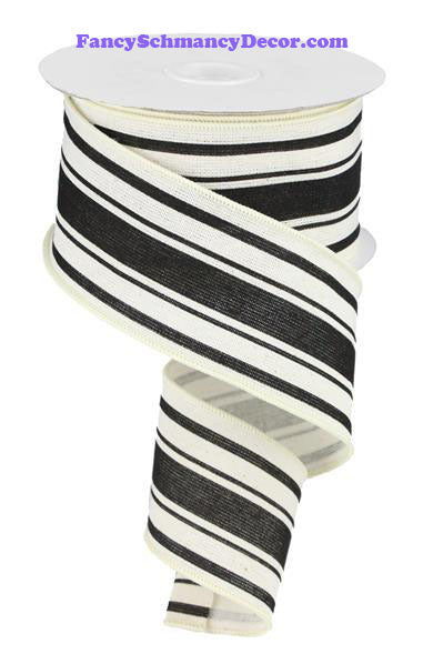 "2.5"" X 10 yd Farmhouse Stripe On Cotton Ivory Black Wired Ribbon"