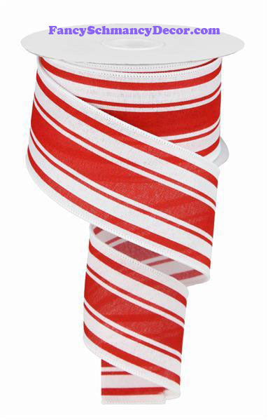 "2.5"" X 10 yd Farmhouse Red White Stripe On Royal Wired Ribbon"