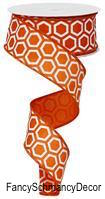"1.5"" X 50 yd Wired Honeycomb Print Orange/White Ribbon"