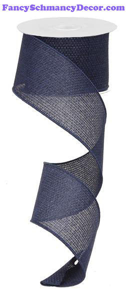 "2.5"" X 10 yd Cross Royal Navy Solid Wired Ribbon"