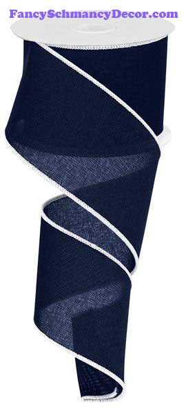 "2.5"" X 10 yd Royal Burlap Navy Blue White Wired Ribbon"