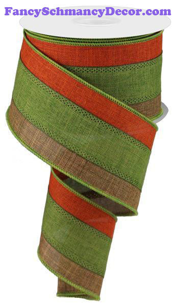 "2.5"" X 10 yd 3 Color 3 In 1 Brown Tan Green Rust Royal Burlap Wired Ribbon"