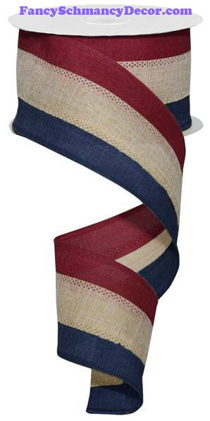 "2.5"" X 10 yd 3 Color 3 In 1 Royal Burlap Burgundy Beige Navy Wired Ribbon"