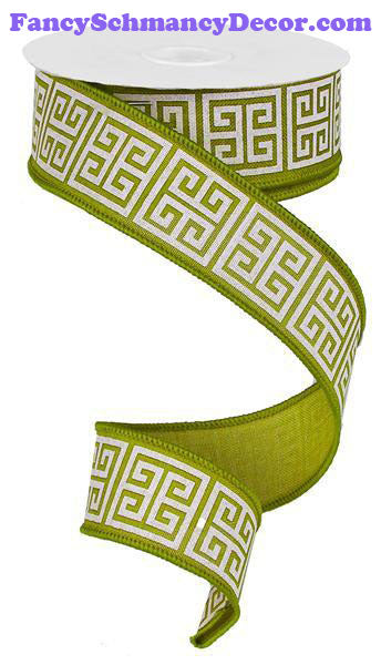 "1.5"" X 10 yd Greek Keys Moss Green Ivory Royal Ribbon"